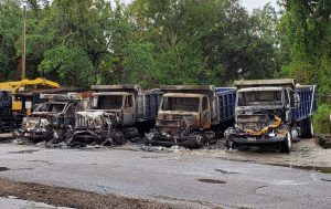 Solid Waste trucks fire damage